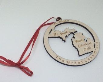 michigan ornament, michigan Christmas Ornament, michigan Gift, michigan sign, First Christmas ornament, michigan state gift