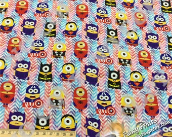 Discount of  minions cotton lycra knitted/minky fabric, digital printed RC063Y - 1 meter