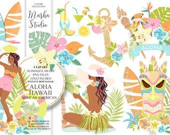 "African American clipart ""ALOHA HAWAII CLIPART"" with Hawaii clipart, tropical clipart, hawaiian clipart, hawaiian girl clipart, 26 images"