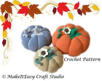 CROCHET PATTERN, Crochet Pumpkins, Fall Autumn Decor, Harvest Ornament,Halloween, PDF file