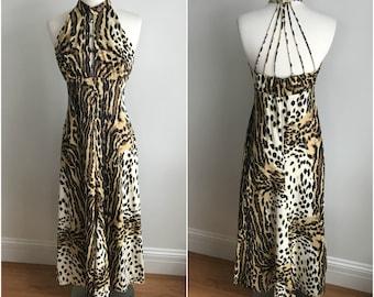 Vintage 1960s Fredericks of Hollywood Leopard Animal Maxi Halter Dress Caged Back S M