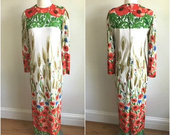 Vintage 1970s Floral Orange POPPY + WHEAT Maxi Dress Caftan Parade New York S M