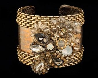 One-of-a-Kind Vintage Bejeweled Cuff, Vintage Cuff, Handmade Cuff, Handmade Bracelet, Vintage Bracelet