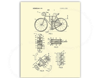 Bicycle Art Print # 1 Biking wall art patent print with cream background, dorm room decor, gift for biker, gift for bicyclist, bicycle decor