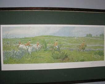 Vintage Edwardian FA Stewart Signed Extremely Artists Proof County Gallway Fox Hunt Ireland C1934