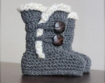 Crochet Ugg Boots for baby/infant, Dark Gray