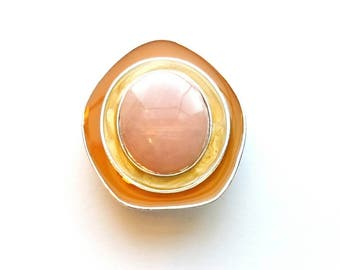 Vintage Avon by C.S.  Silver Modernist Style with Pink Quartz Pin, Brooch and Pendant