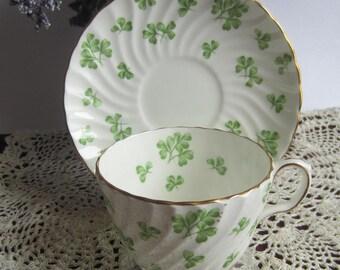 Aynsley 15279 SHAMROCK Flat, Swirled Bone China Tea Cup and Saucer