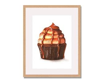 Caramel Cupcake Fine Art Print, Cupcake Watercolor Print,  Illustration, Cupcake, Kitchen Decor, Wall Art, Home Decor,Food Illustration