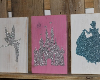 Disney inspired Glitter signs! Hand painted!