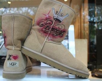 "Custom painted Airbrush UGG Australia Boots ""Princess"" girly style crown silver *UNIKAT*"