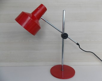 Office table lamp, Vintage Modernist Retro, desk lamp, vintage table lamp, retro lamp, red lamp,  table lamp