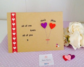 All Of Me Loves All Of You - Personalised Handmade Cards, I Love You Cards - Personalised Handmade Love Cards - Personalised Valentines Card