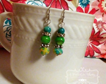 Bright and Vibrant Silver, Green and Turquoise Drop Earrings