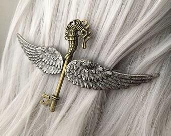 Mermaid Headpiece 80mm Silver Seahorse Hairclip for Women - Nautical Hair Clip - Steampunk Hair Accessories - Steampunk Jewelry