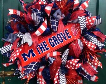 Ole Miss Wreath, University of Mississippi Wreath, Ole Miss Football Wreath, Rebels Football Wreath, Rebels Wreath The Grove Wreath,Ole Miss