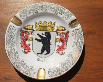 Vintage Coat of Arms Berlin Ceramic Ashtray With Gold Ornate Trim