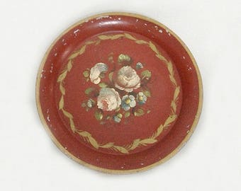 Antique French Hand-Painted Napoleon III Tray with Roses Decor - 19th Century