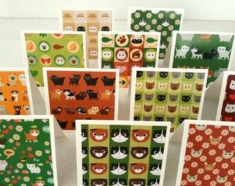 Cat cards / cat card / cat notecards / mini cat notecards / mini cat cards / cat notes / cat note cards set of 12