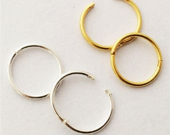 Hinged Hoop Earrings Rings, Customize your combo of size and metal, silver, gold, piercing jewelry