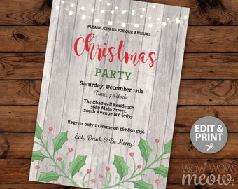 Christmas Party Invitations X-Mas Holiday Season Invites Festive INSTANT DOWNLOAD Work Holly Leaves Decorations Printable  Custom Editable