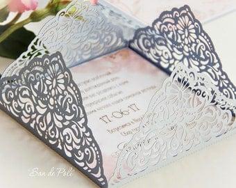 Wedding invitation Card Template Four-fold filigree envelope 5x5'' (svg, dxf, ai, eps, cdr) laser die cut Pattern Silhouette Cameo Cricut