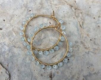 Gold Hoop earrings - Silver hoop earrings - Gems earrings - Creole earrings