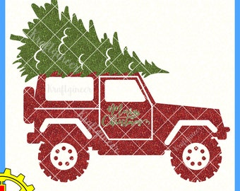 Christmas Tree SUV Merry Christmas Red Truck svg cut file for Cricut Silhouette Scan N Cut Commercial Use