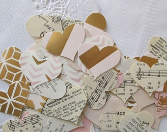 100 pieces heart paper punches - rose gold, pink and ivory, vintage sheet music, vintage dictionary heart confetti