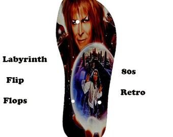 Labyrinth Flip Flops , 80s, flip flops, music, 80s films. cult, glam rock, David Bowie, beach fashion