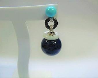 turquoise earrings Onyx 18 karat white gold mother of Pearl diamonds made of lapis lazuli