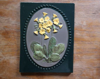 Vintage Sweden Jie Gantofta Ceramic Wall Plaque Yellow Flower Plant Signed Aimo