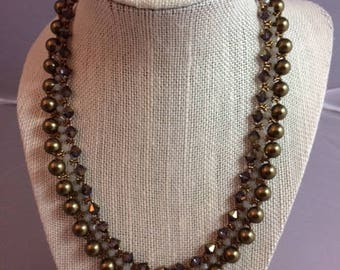 Swarorski crystal and pearl necklace