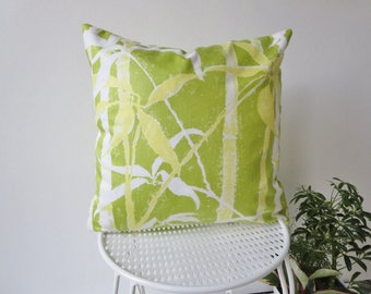 Green Tropical Print Throw Pillow Cover, Vintage Cotton, Bamboo, Bed Pillow, Couch Pillow