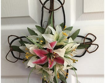 Rustic Lily Grapevine Cross