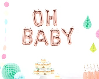 OH BABY Balloons, Foil LetterBalloons, Oh Baby Banner, Oh Baby, Baby Shower Balloons, Gold, Silver, Blue, Pink, Baby Balloon, Baby