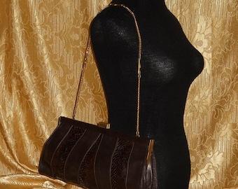 Genuine vintage bag - genuine leather and python