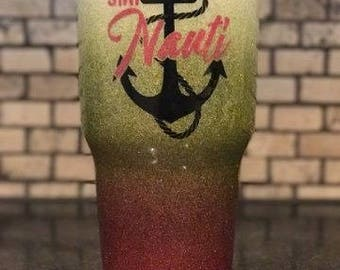 Stay Nauti Nautical Anchor 3 Color Hombre Fade and Glitter Painted 30 oz tumbler