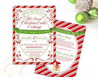 Cookie Exchange Christmas invitation - Christmas Party invitation - Vintage Modern - Cookie Party - Gibb + Co Studio - C076