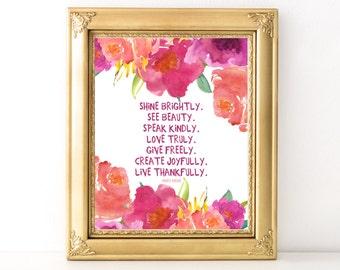 Shine Brightly Pink Print / Every Day Spirit / Inspirational Quote / Wall Art / Words of Wisdom / Encouragement / Gratitude / Dorm Decor