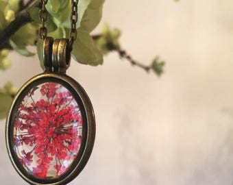 Red Queen Anne's Lace Pendant