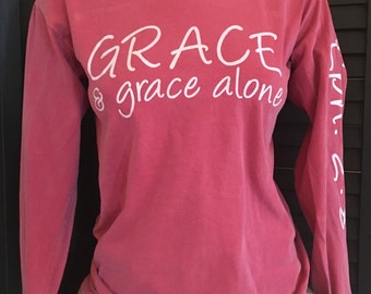 XLarge Christian Scripture Eph. 2:8 Southern preppy inspired Comfort Colors Long Sleeve Shirt