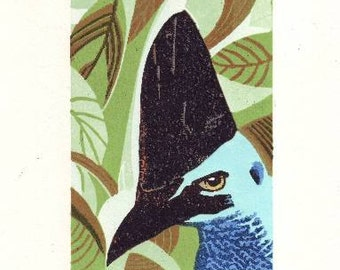 Cassowary Reduction linocut original print
