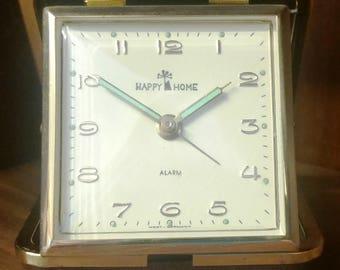 Vintage Happy Home Luminous Brown & Bronze Folding Travel Clock (West Germany) (#2355-C)
