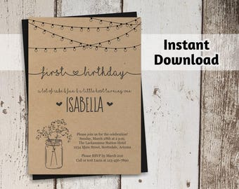 Girls First Birthday Invitation - Printable Template - Rustic Mason Jar - Kraft Paper - Instant Download Digital File - 1st Birthday Invite