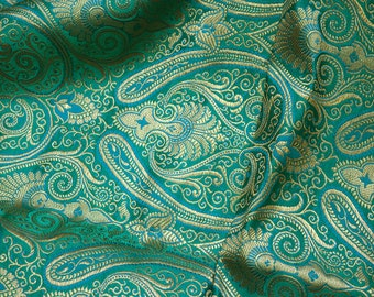 Sea Green Brocade Fabric by the Yard for Wedding Dress Fabric, Banarasi Silk Fabric Indian Silk,  Banaras brocade Blended Silk Fabric