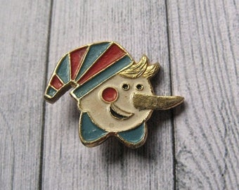 Vintage Cartoon Characters Pin, Burattino Pin, Golden Key Fairy Tale, Pinocchio Pin