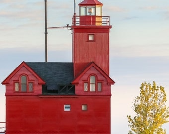 Big Red Lighthouse Photography, Holland Lighthouse, Michigan Photography, Ottawa Beach SP, Holland Michigan, Seascape, Lighthouse Photo Art