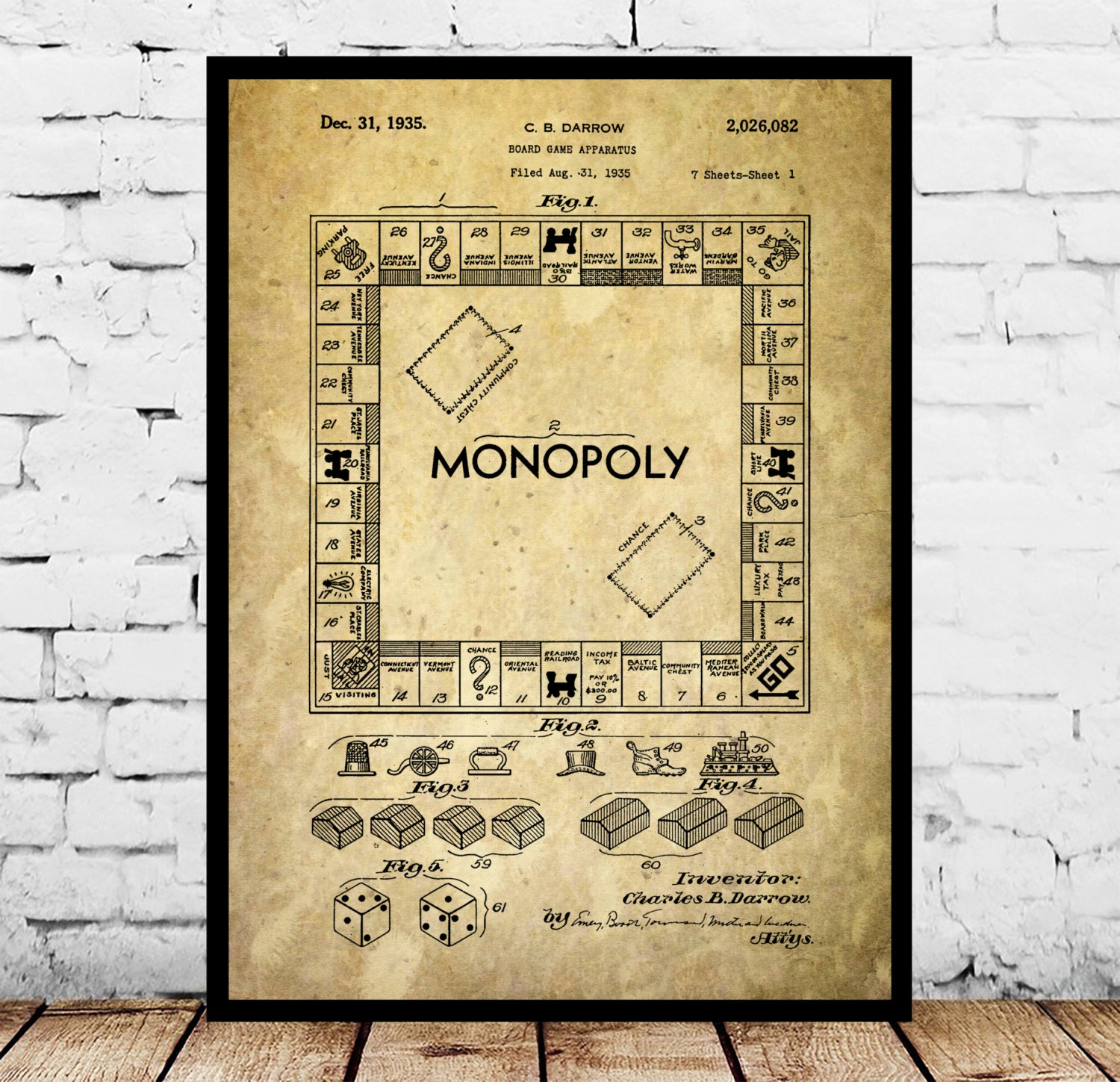 Charming blueprint wall art ideas the wall art decorations monopoly poster monopoly patent monopoly print monopoly art malvernweather Gallery
