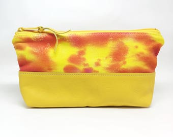 Hand Painted Denim Zipper Pouch Pink Yellow Orange Leather Small Purse Handmade Makeup Bag Gifts for Her Toiletry Organizer Travel Case